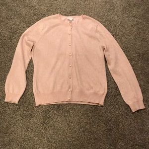 New York & Company Pink and Gold Glitter Cardigan